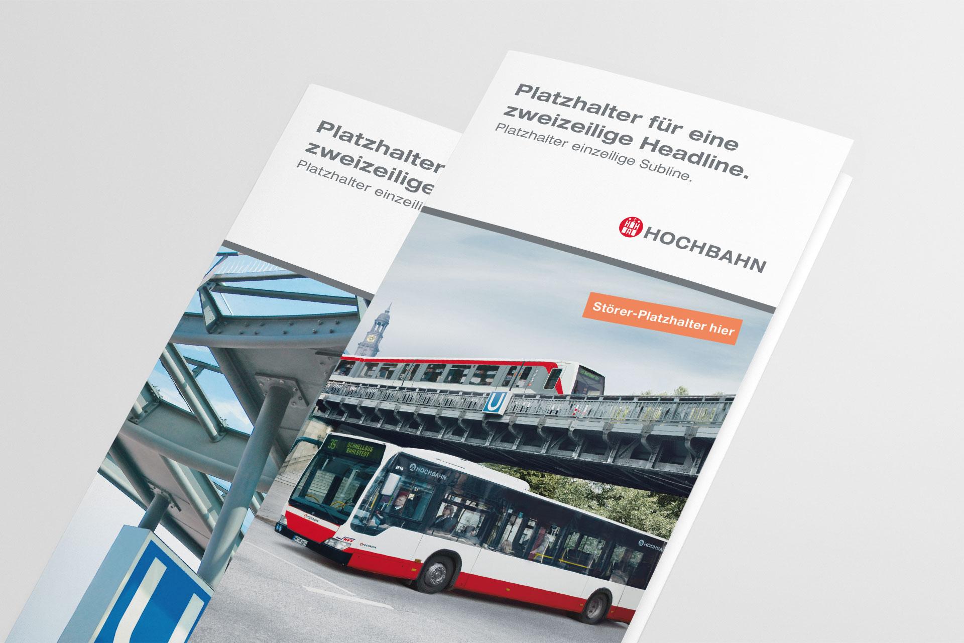 Corporate Design für Hamburger Hochbahn, Beispiel Flyerdesign
