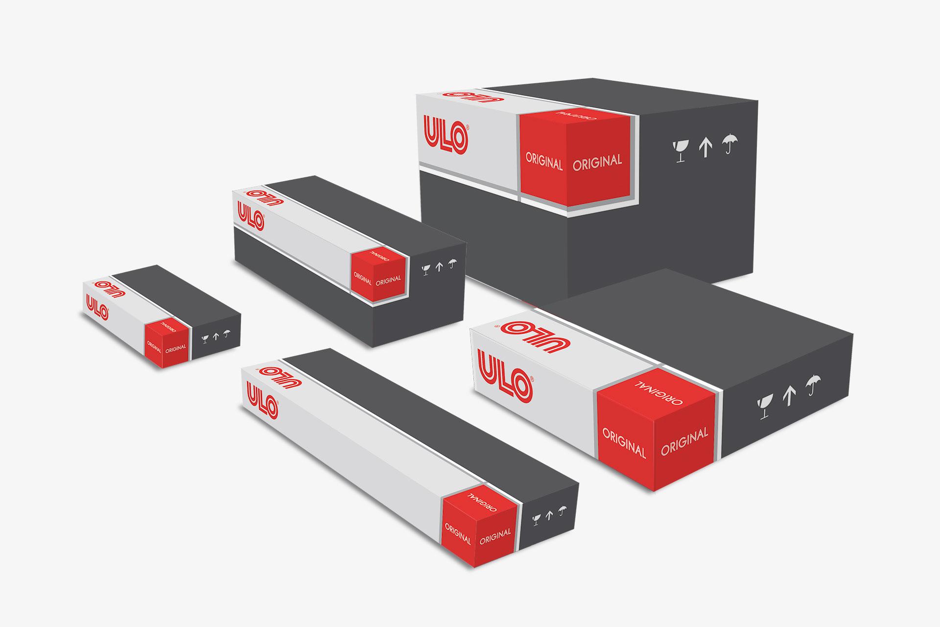 Verpackungsdesign für ULO Fahrzeugleuchten, Beispiel Verpackungsdesign Skalierbarkeit