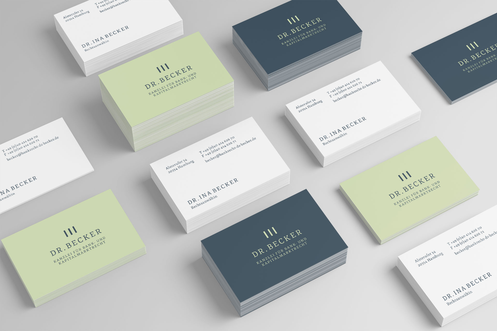 Visitenkarten im Corporate Design der Kanzlei Dr. Becker