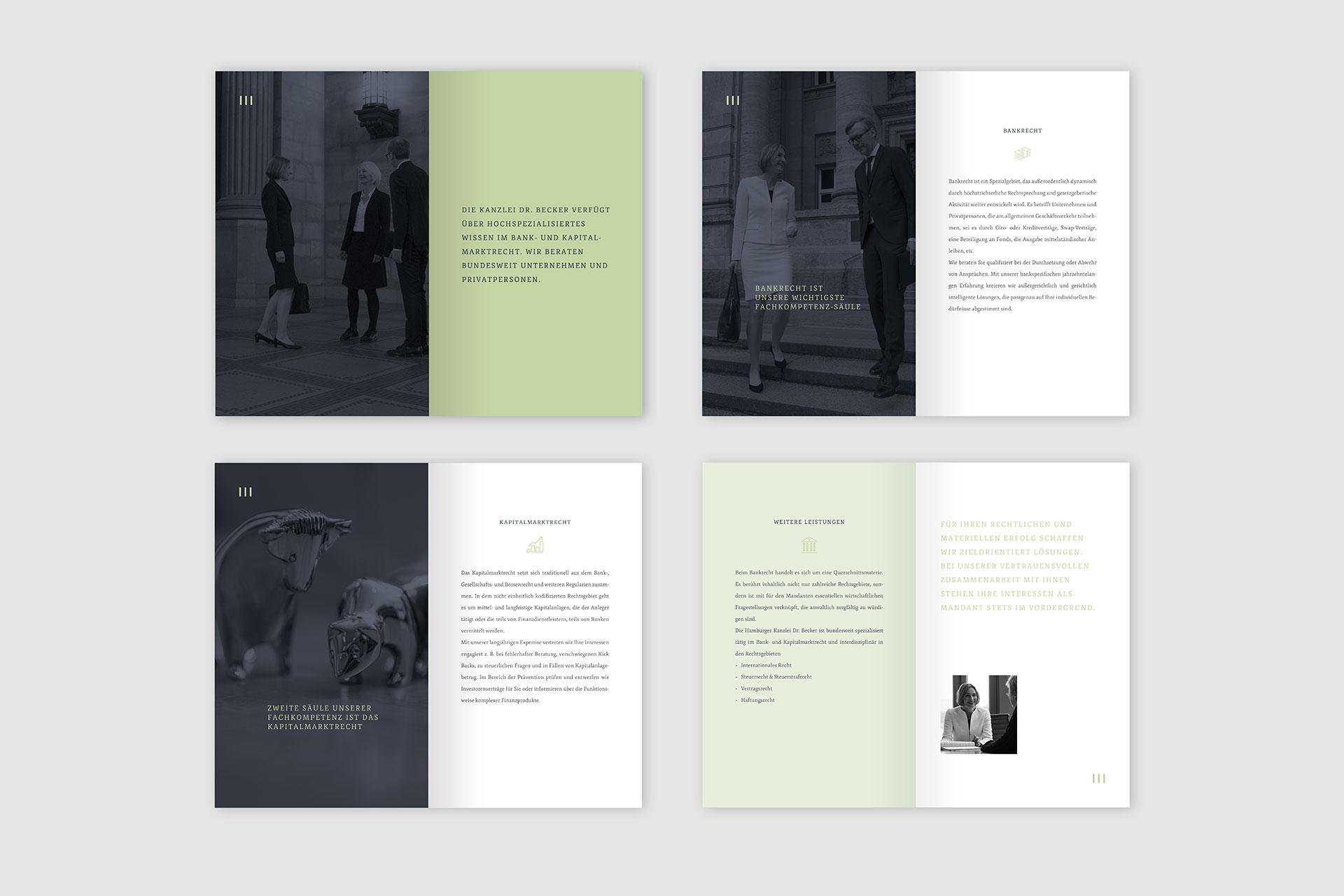 Corporate Design für Kanzlei Dr. Becker, Beispiel Broschürendesign