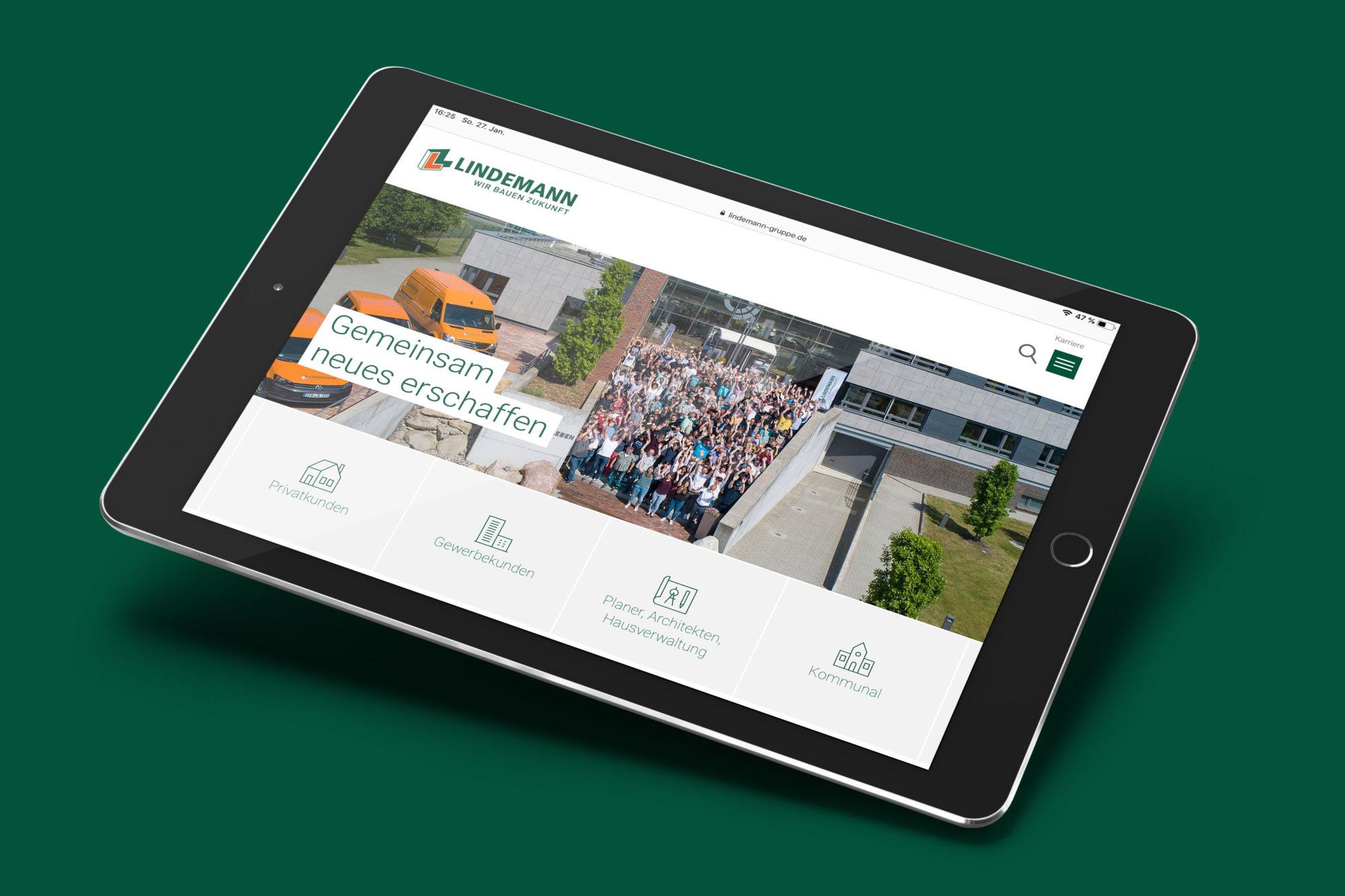 Corporate Design für Lindemann, Beispiel Webdesign
