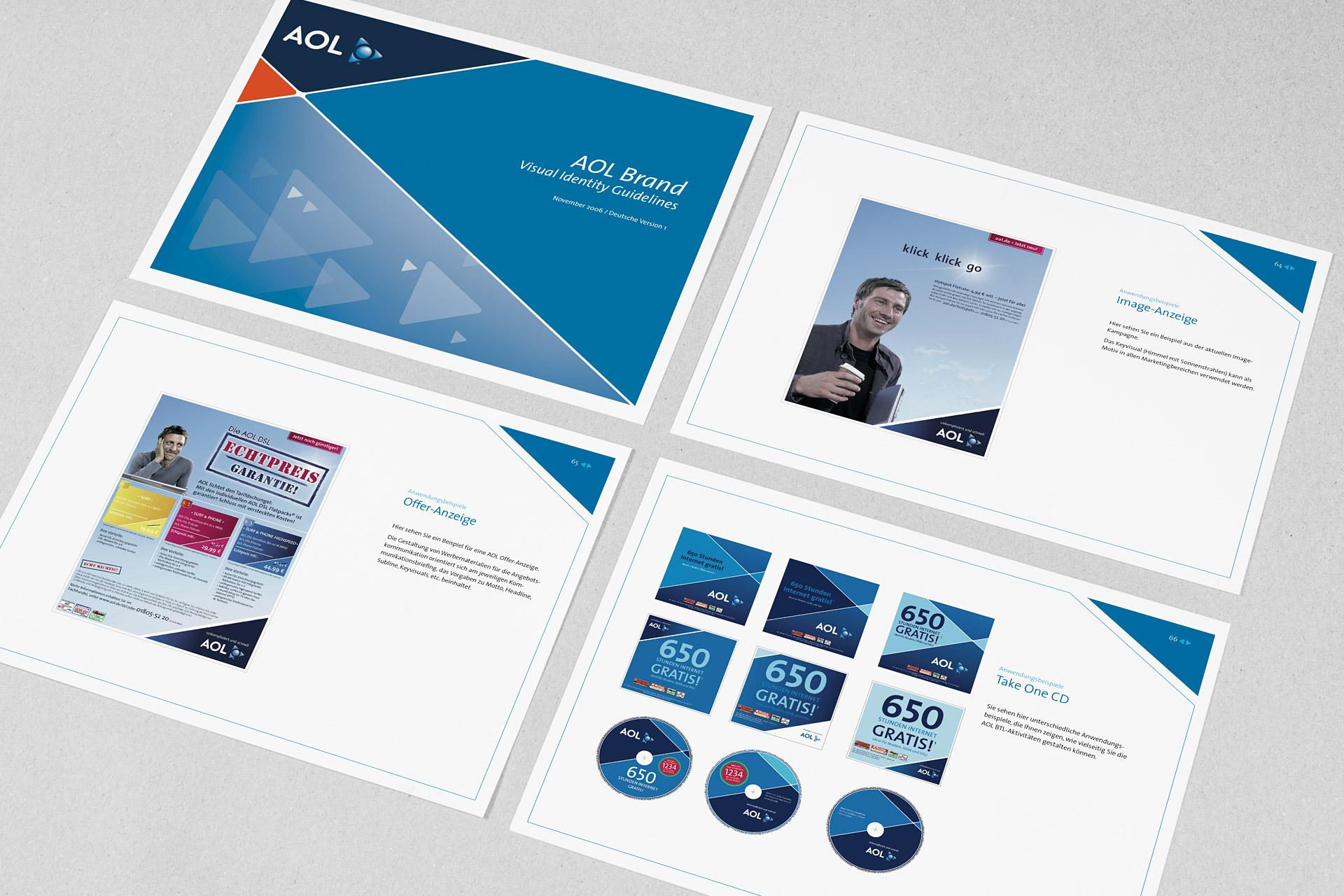 Corporate Design für AOL, Beispiel Design Manual