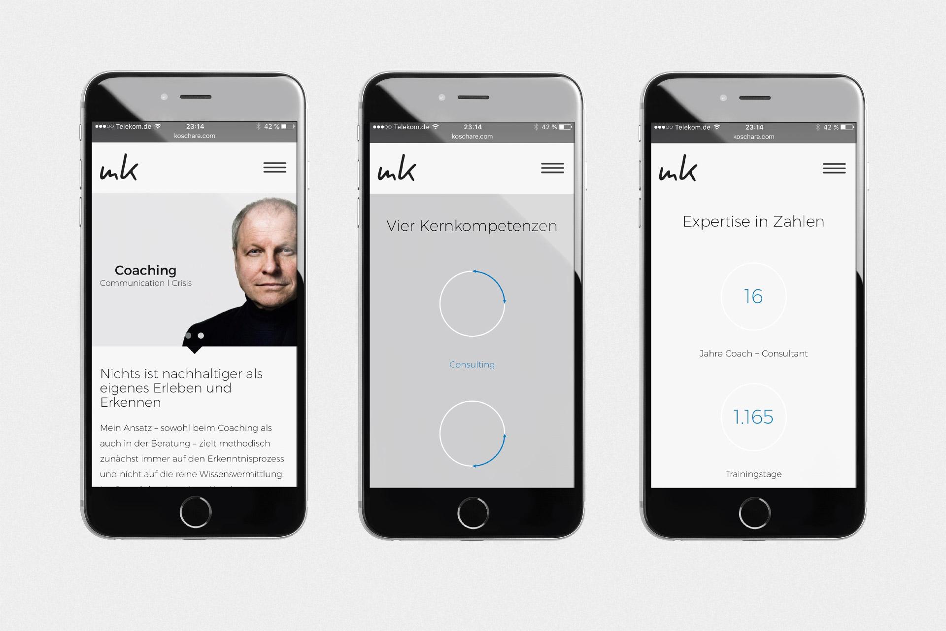 Corporate Design für Michael Koschare, Beispiel Webdesign