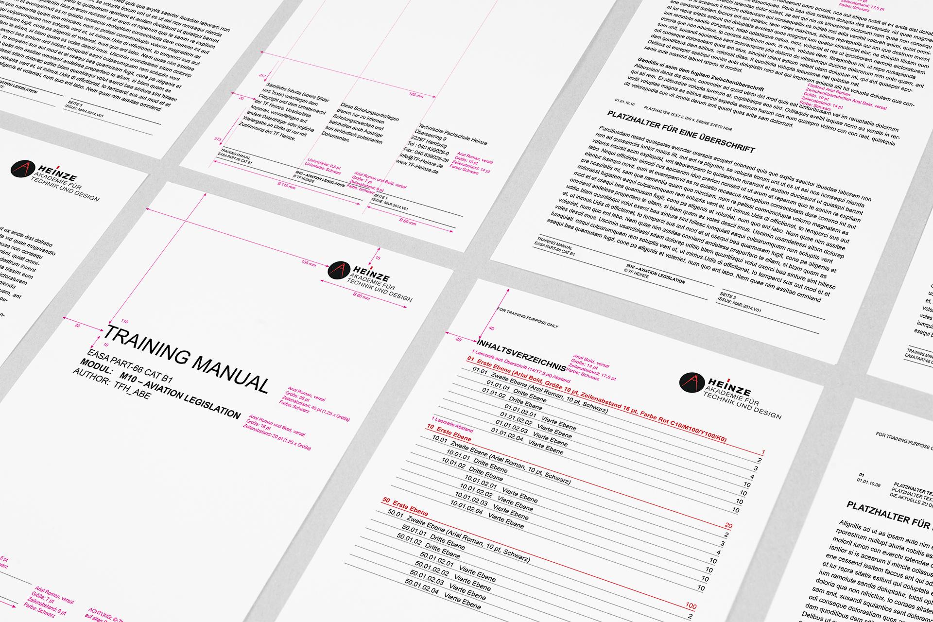 Corporate Design für Heinze Akademie, Beispiel Design Manual