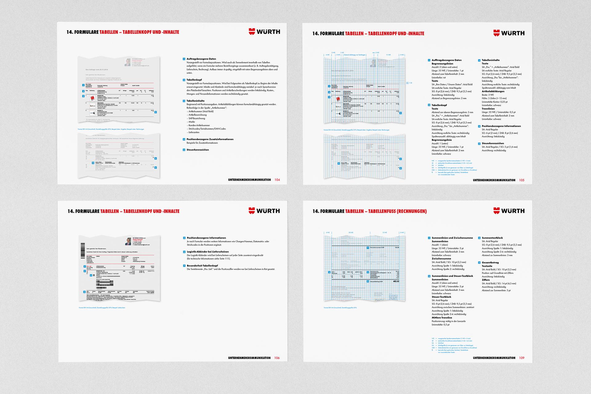 Corporate Design für Würth, Beispiel Fomulardesign