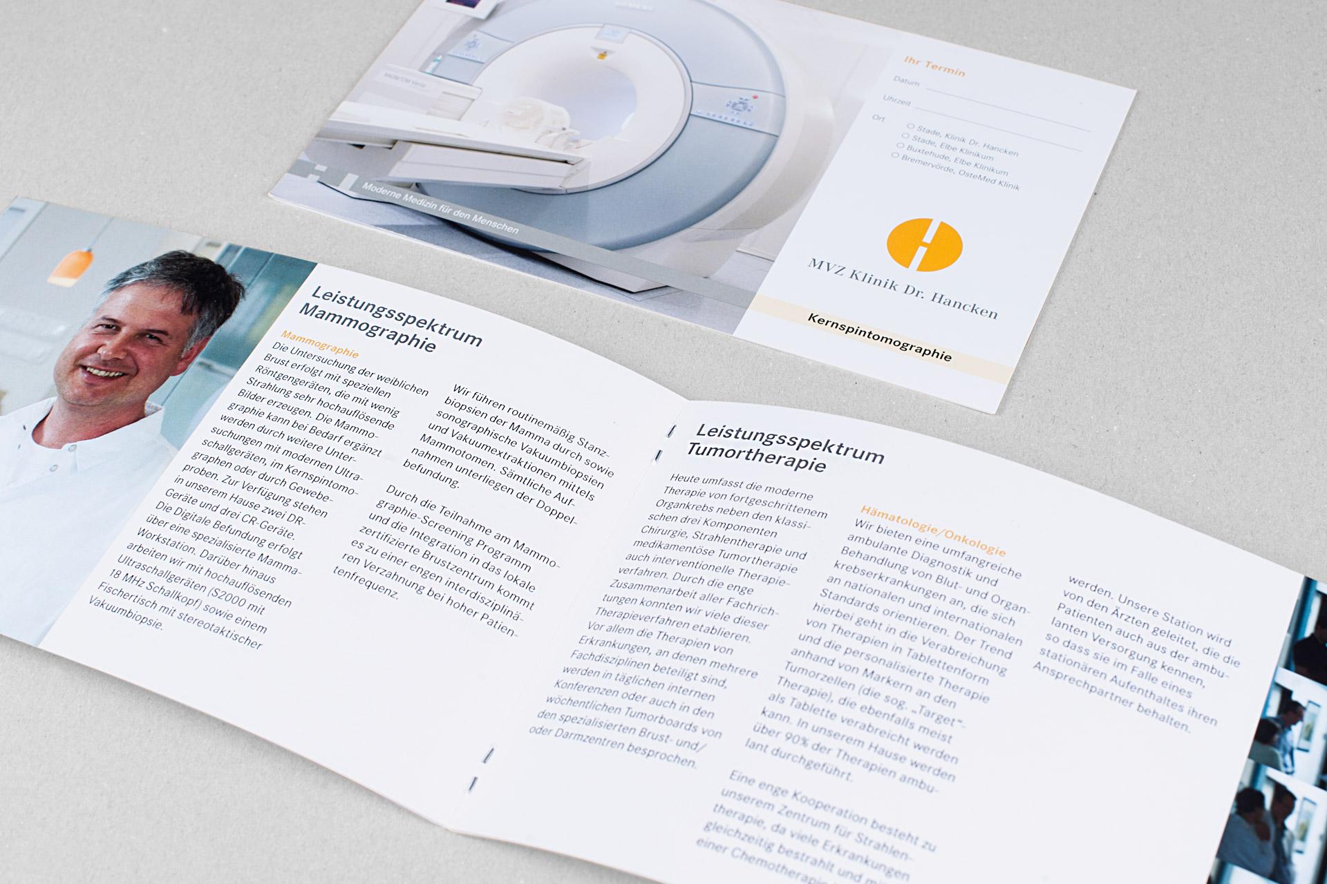 Flyergestaltung im Corporate Design der Klinik Dr. Hancken