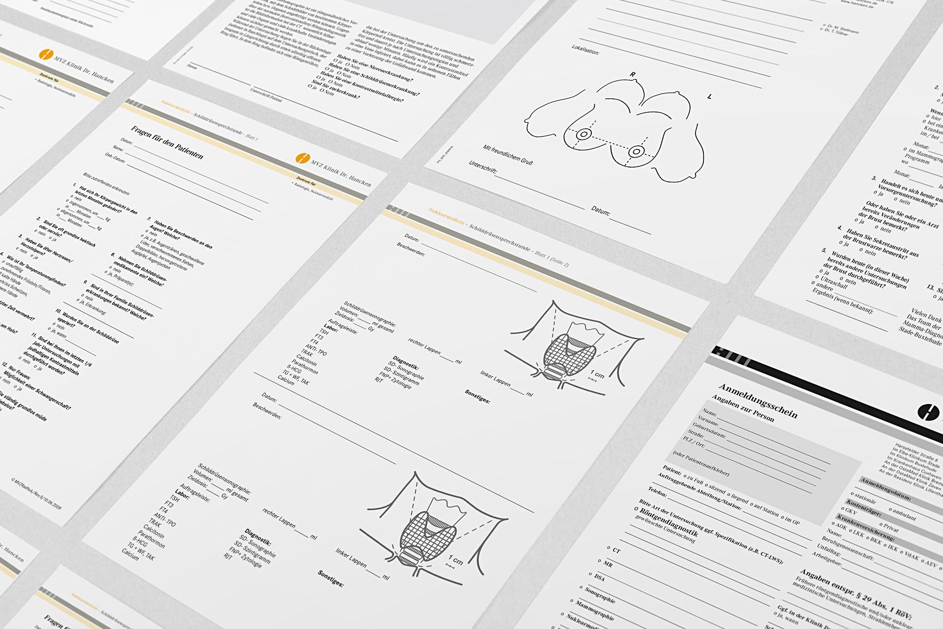 Formulardesign im Corporate Design der Klinik Dr. Hancken