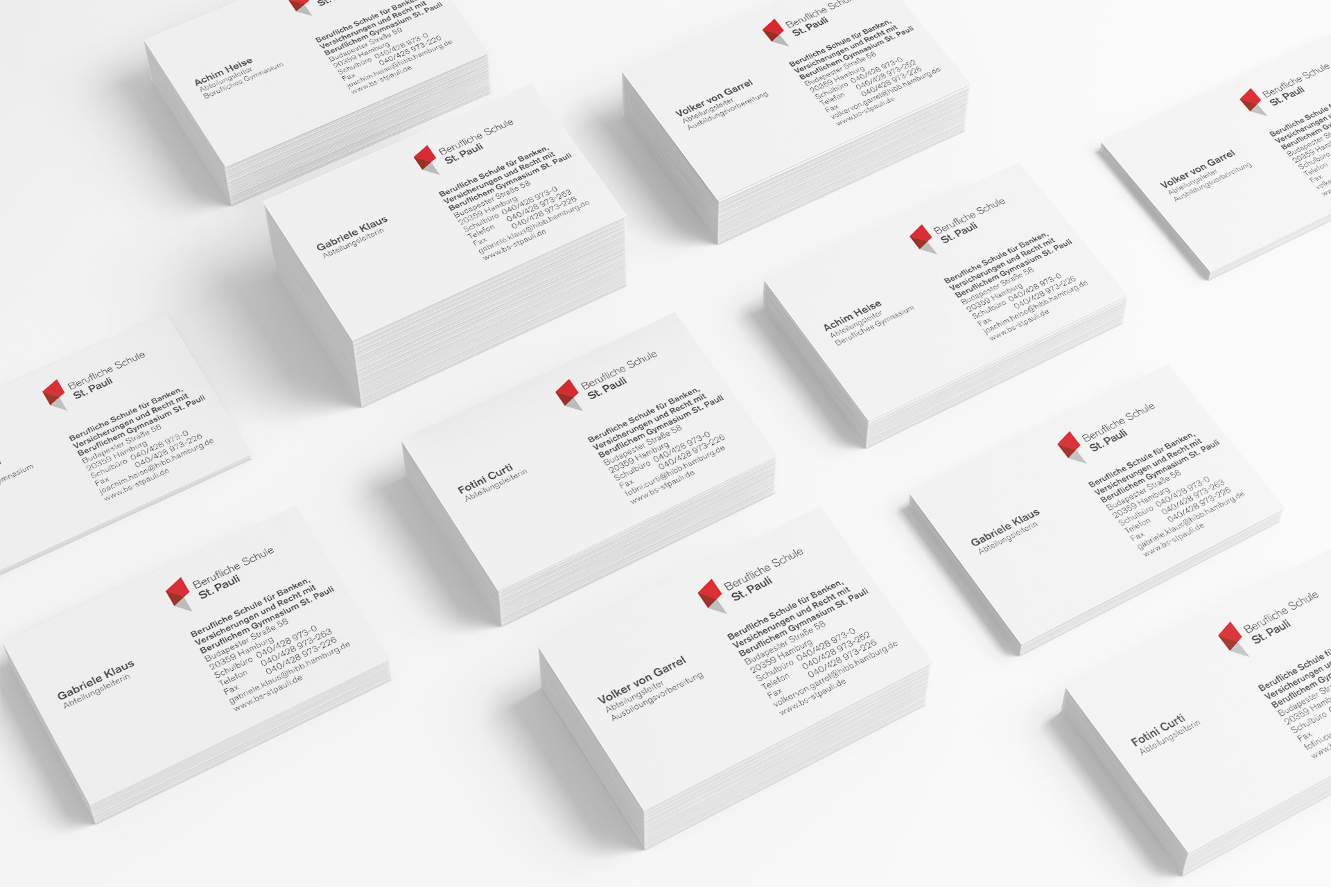 Corporate Design für Berufliche Schule St. Pauli, Beispiel Visitenkarten