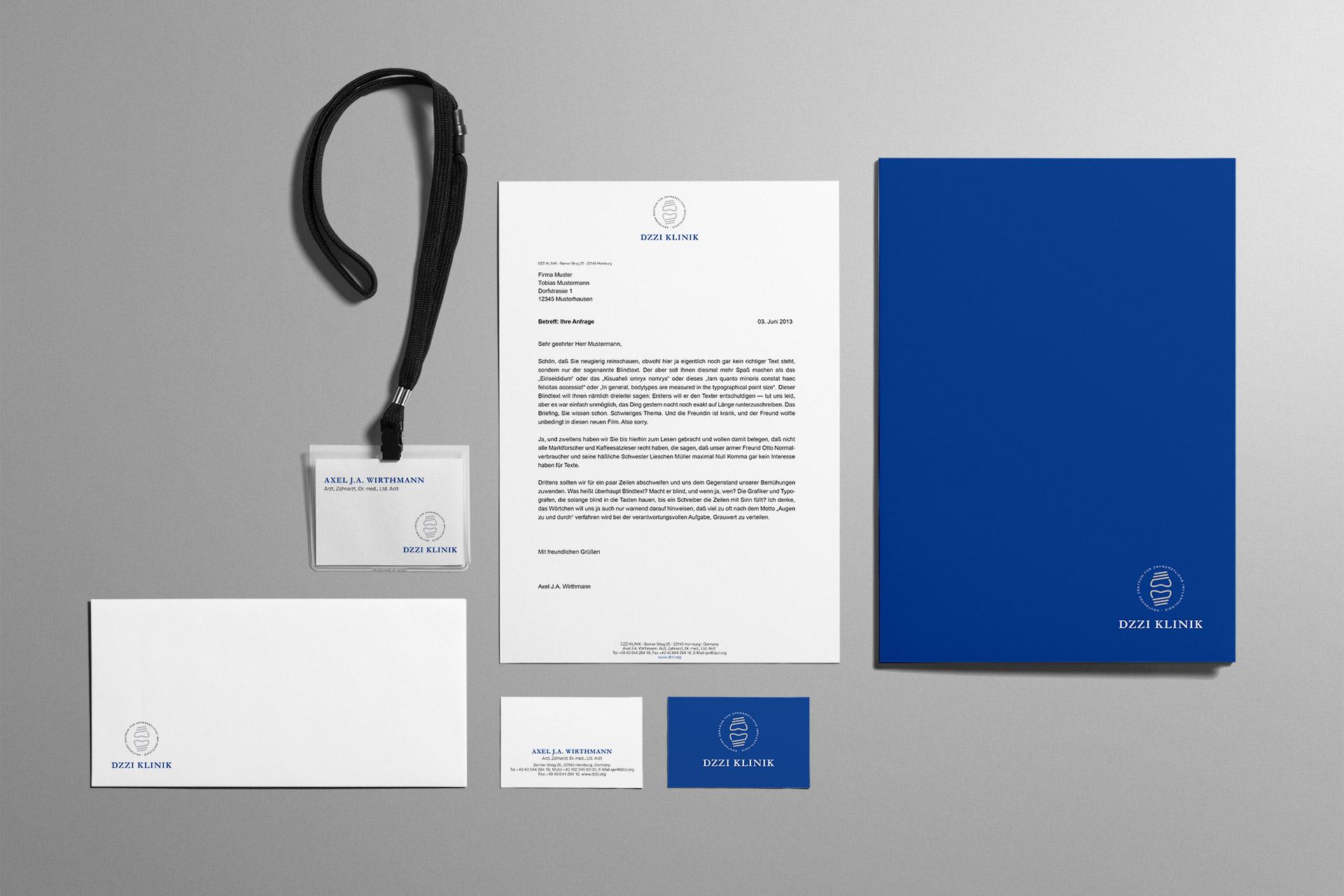 Corporate Design für DZZI Klinik, Beispiel Geschäftsausstattung