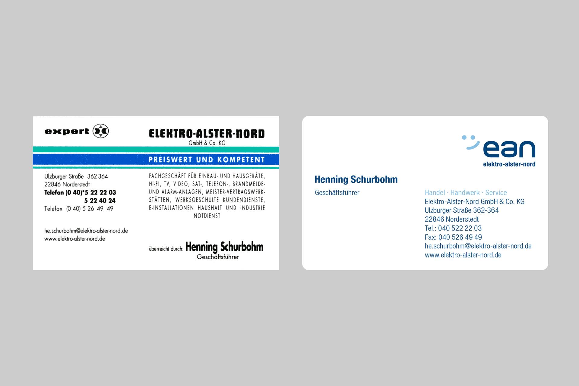 Corporate Design für elektro-alster-nord, Beispiel Visitenkarte vorher-nachher