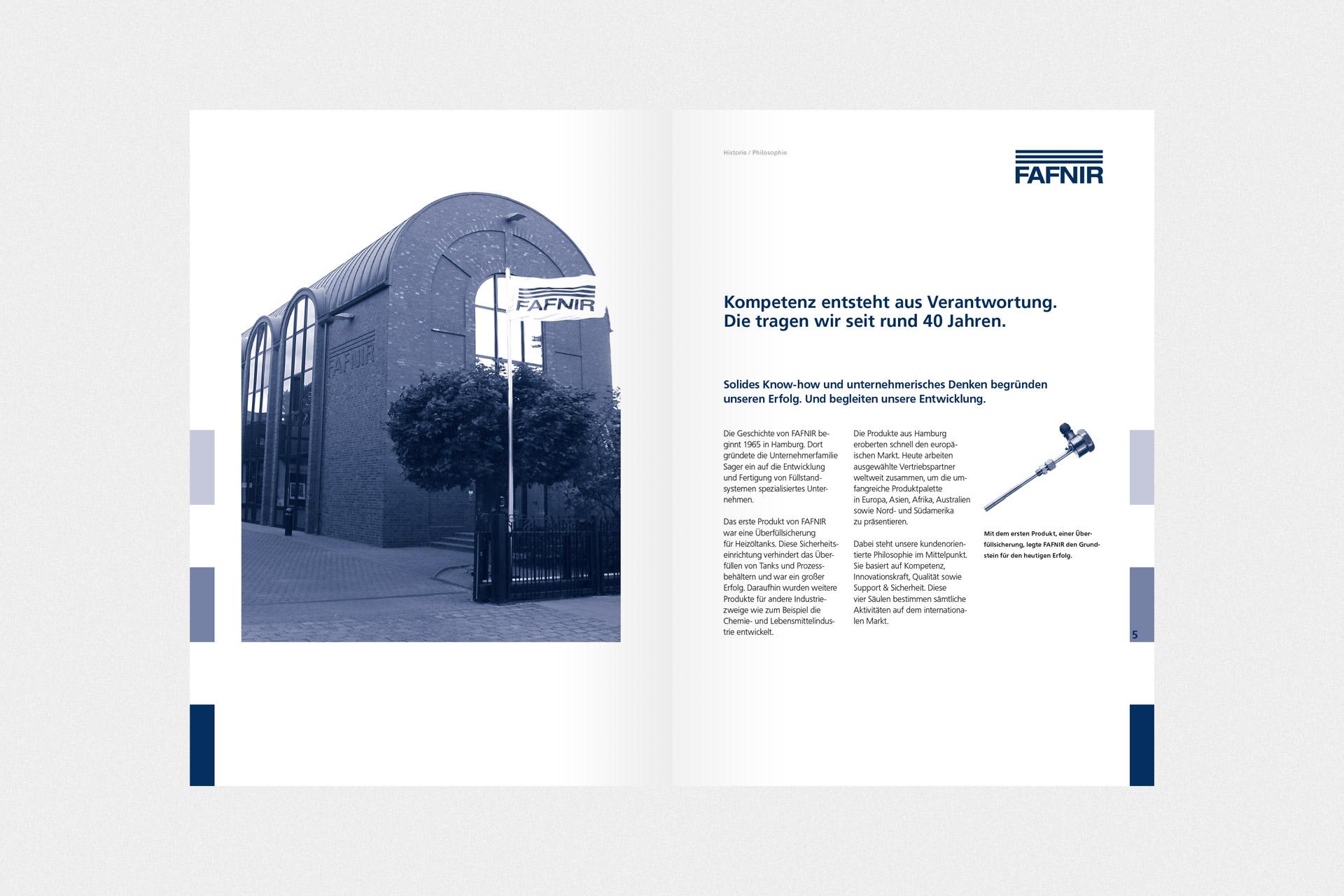 Corporate Design für FAFNIR, Beispiel Broschürendesign