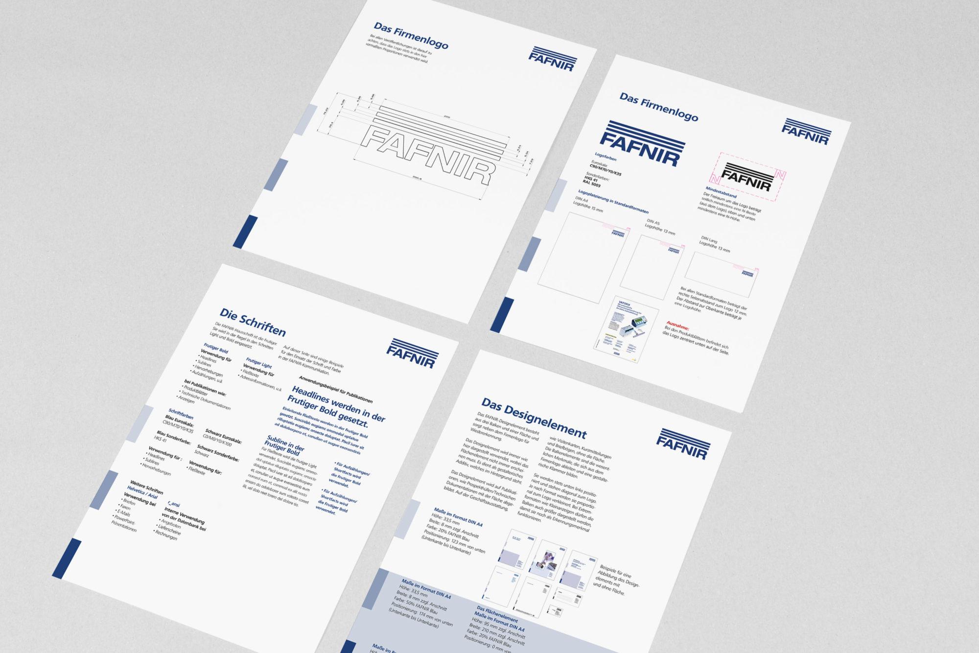 Corporate Design für FAFNIR, Beispiel Design Manual