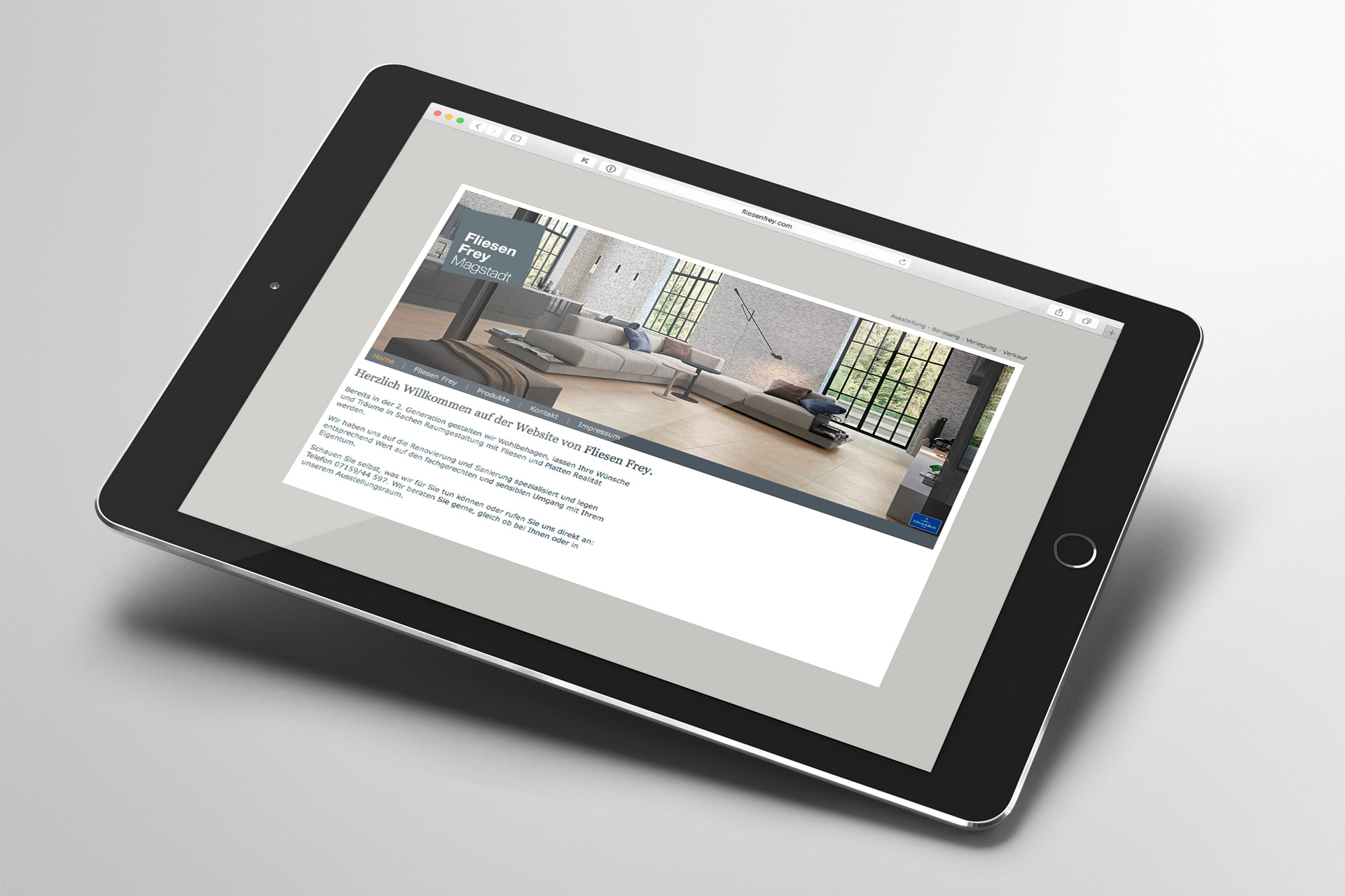 Corporate Design für FliesenFrey, Beispiel Webdesign