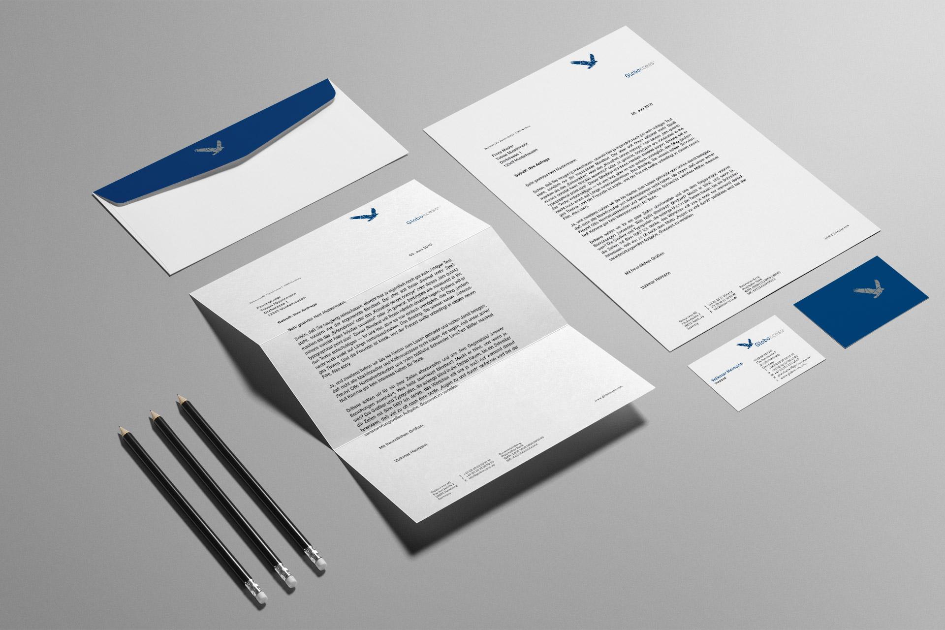 Corporate Design für Globoccess, Beispiel Geschäftsausstattung