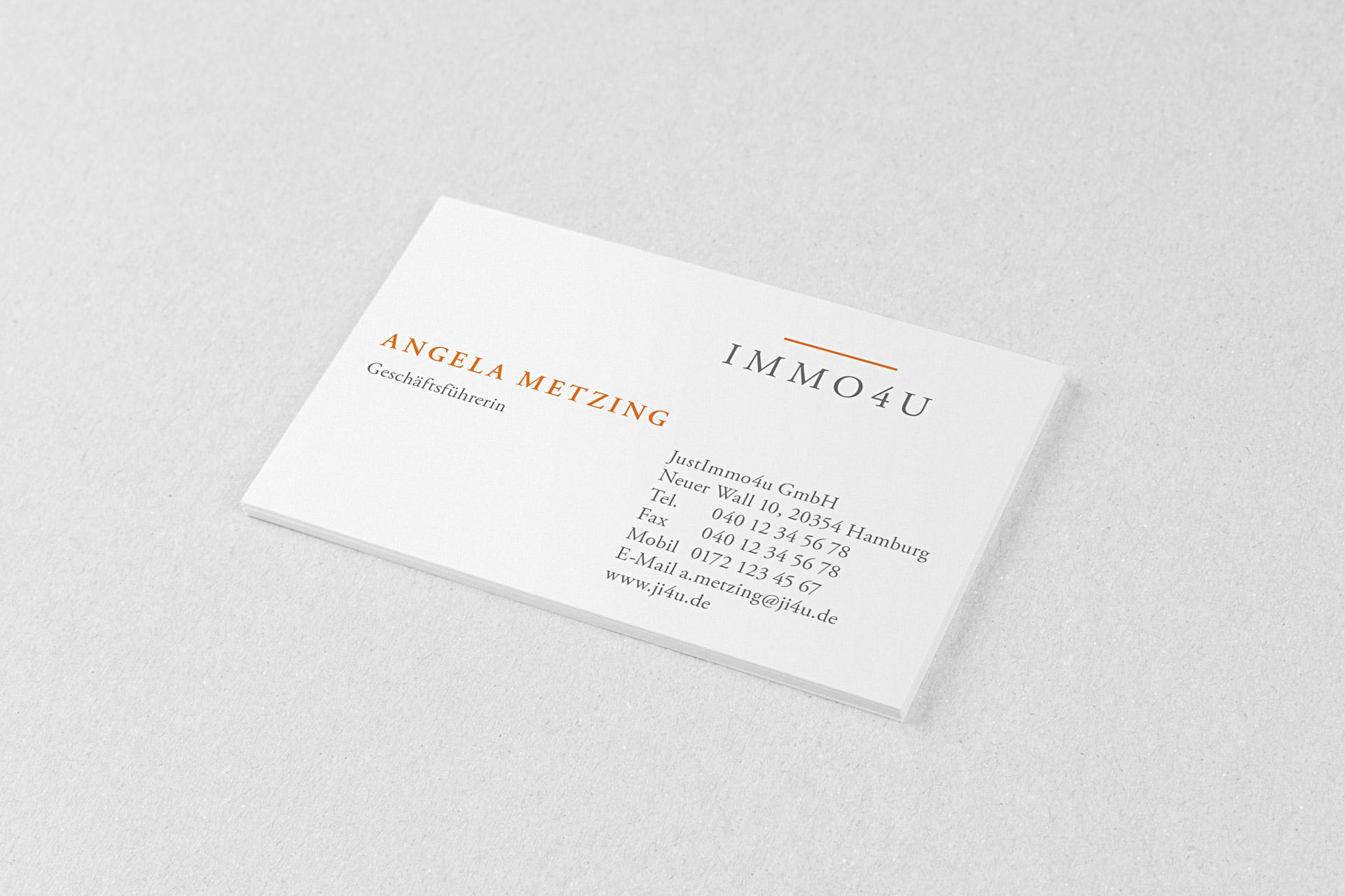 Corporate Design für immo4u, Beispiel Visitenkarte