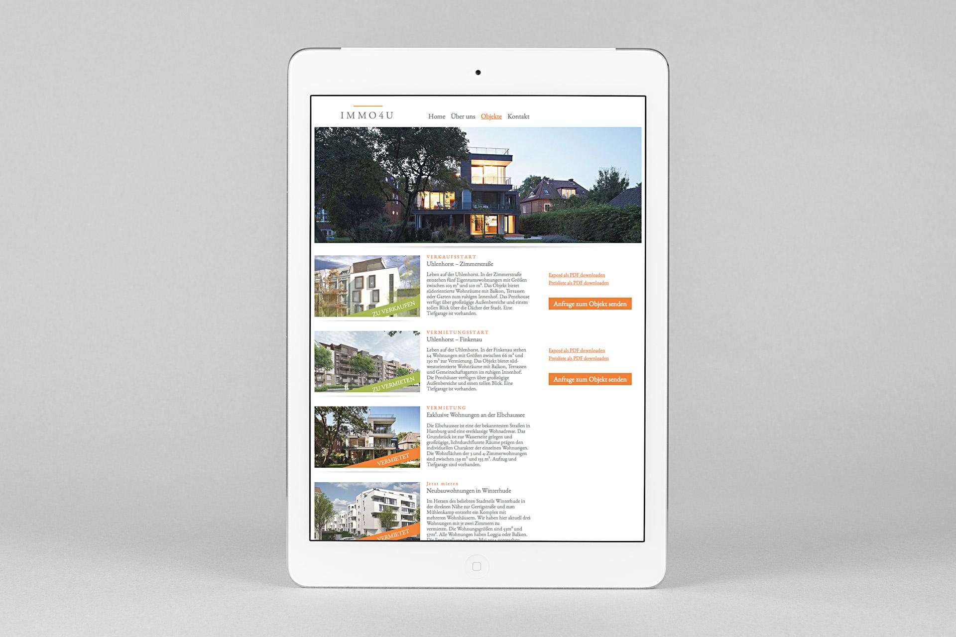 Corporate Design für immo4u, Beispiel Webdesign