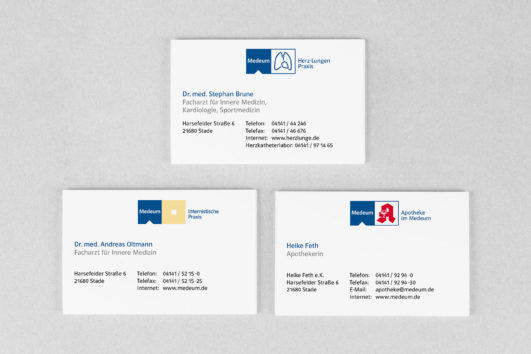 Corporate Design für Medeum, Beispiel Visitenkarten