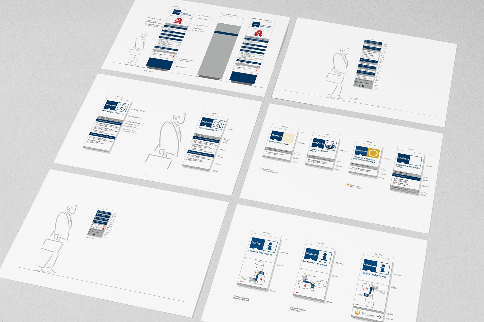 Corporate Design für Medeum, Beispiel Beschilderung