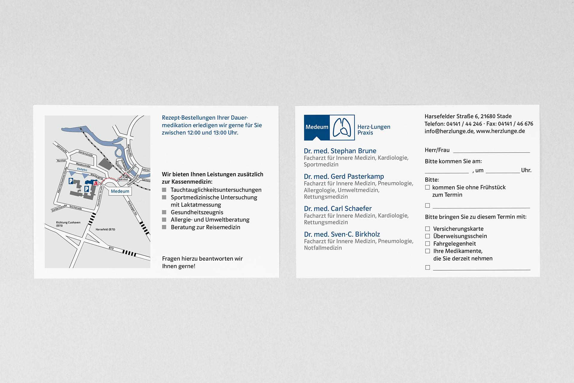 Corporate Design für Medeum, Beispiel Terminkarten