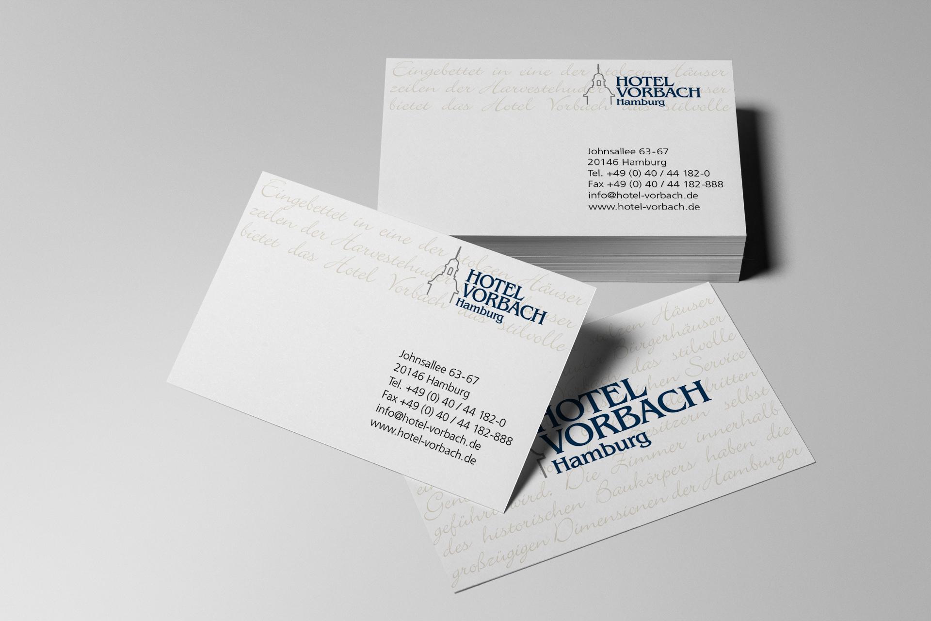 Corporate Design für das Hotel Vorbach, Beispiel Visitenkarten