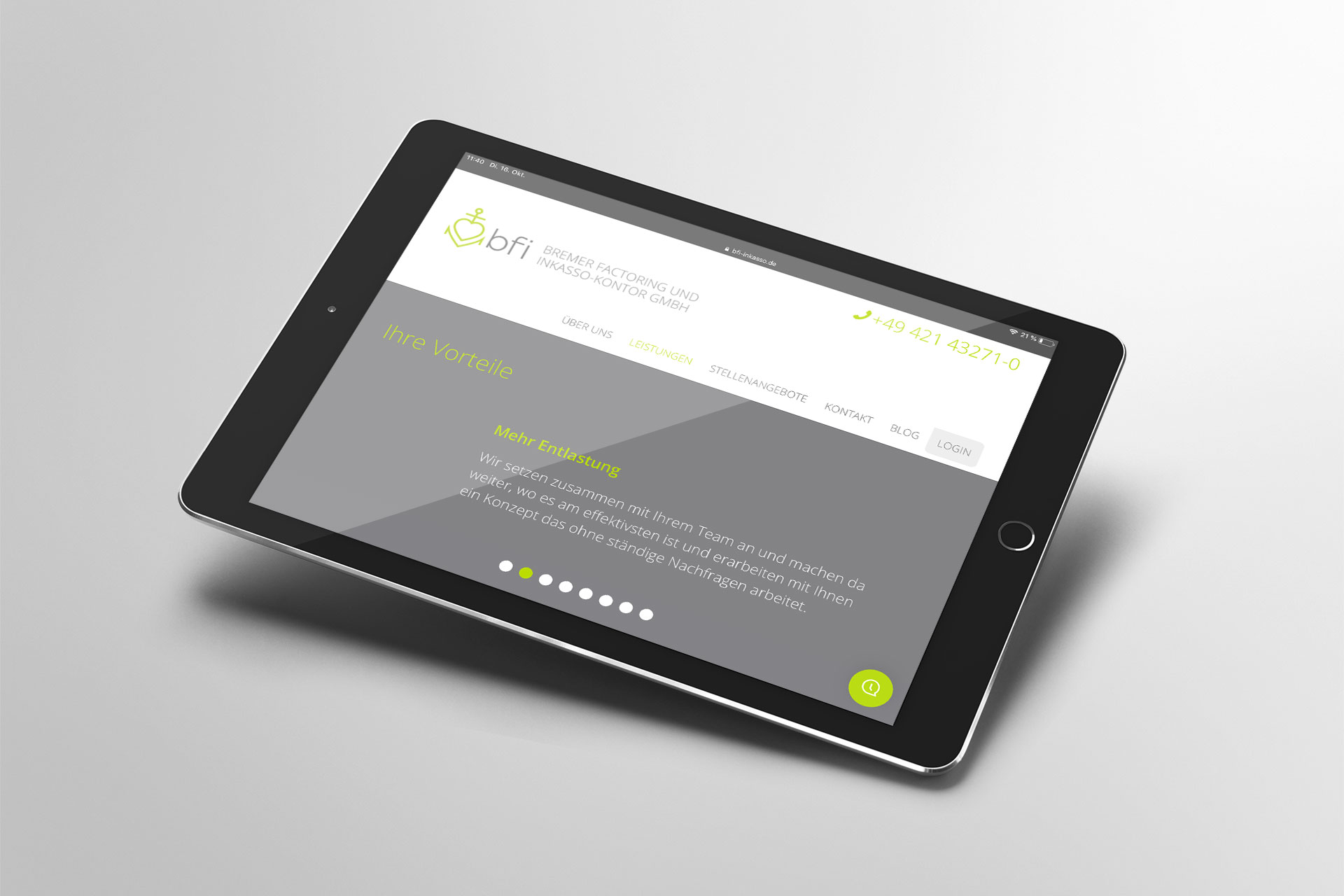 Webdesign im Corporate Design von bfi inkasso