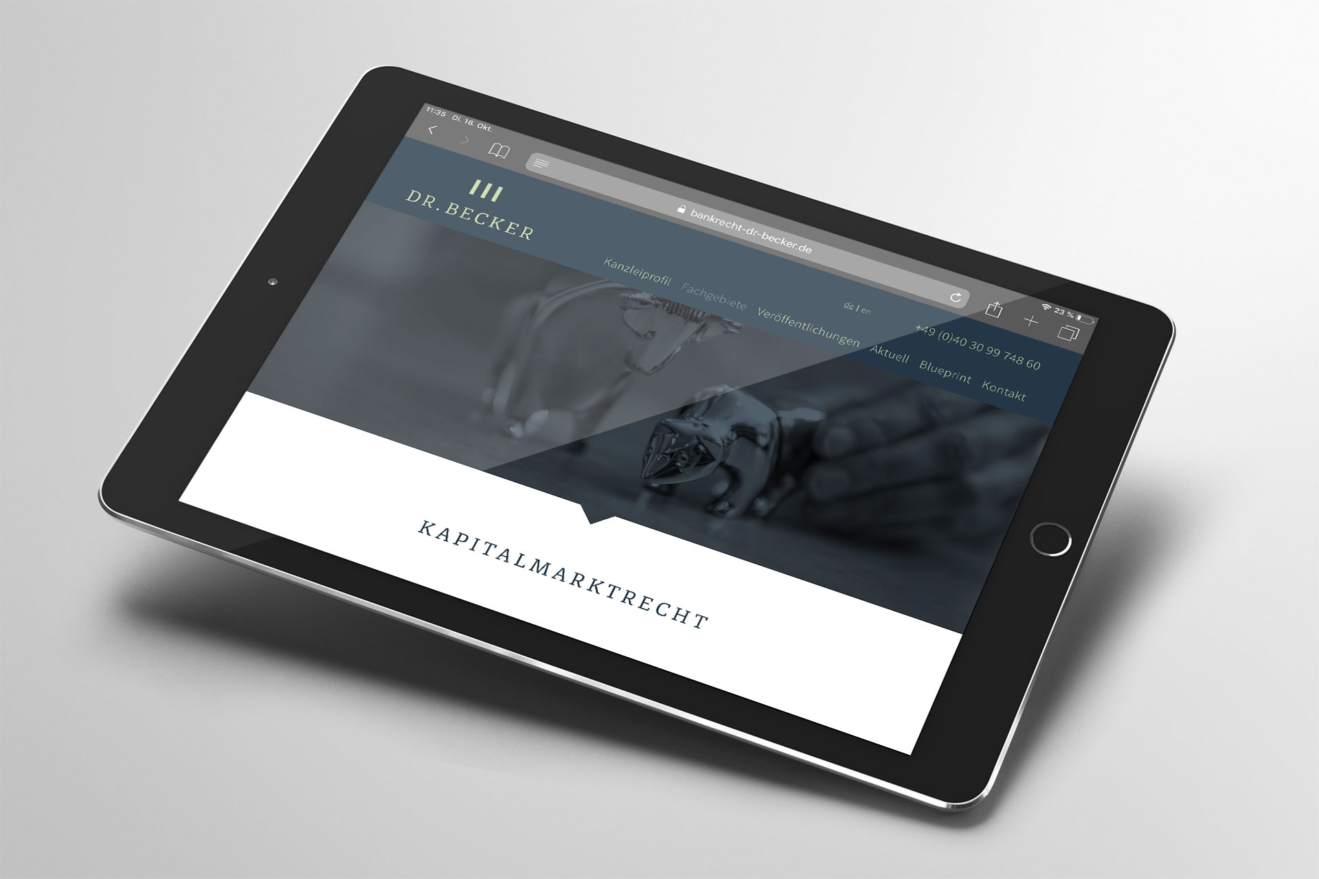 Webdesign im Corporate Design von Kanzlei Dr. Becker