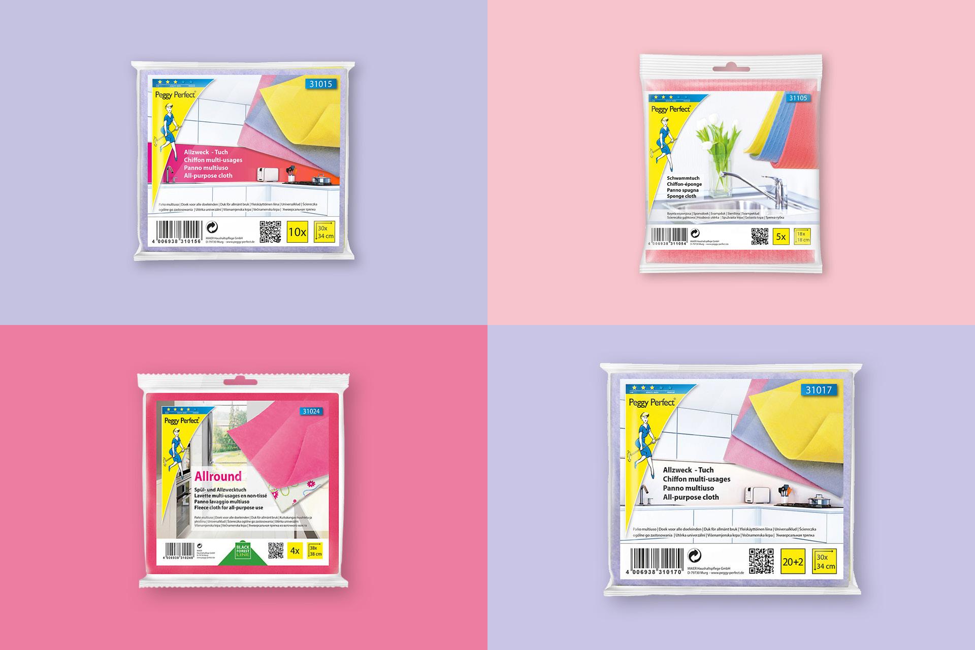 Verpackungsdesign für die Marke Peggy Perfect von Maier Haushaltspflege, Anwendungsbeispiele