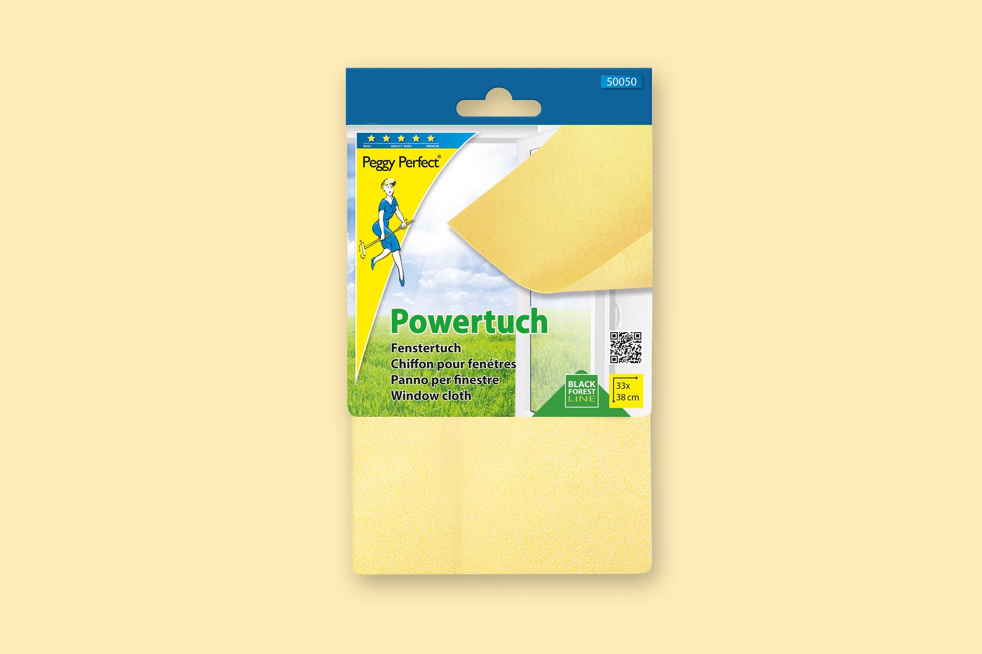 Verpackungsdesign für die Marke Peggy Perfect von Maier Haushaltspflege, Anwendungsbeispiel