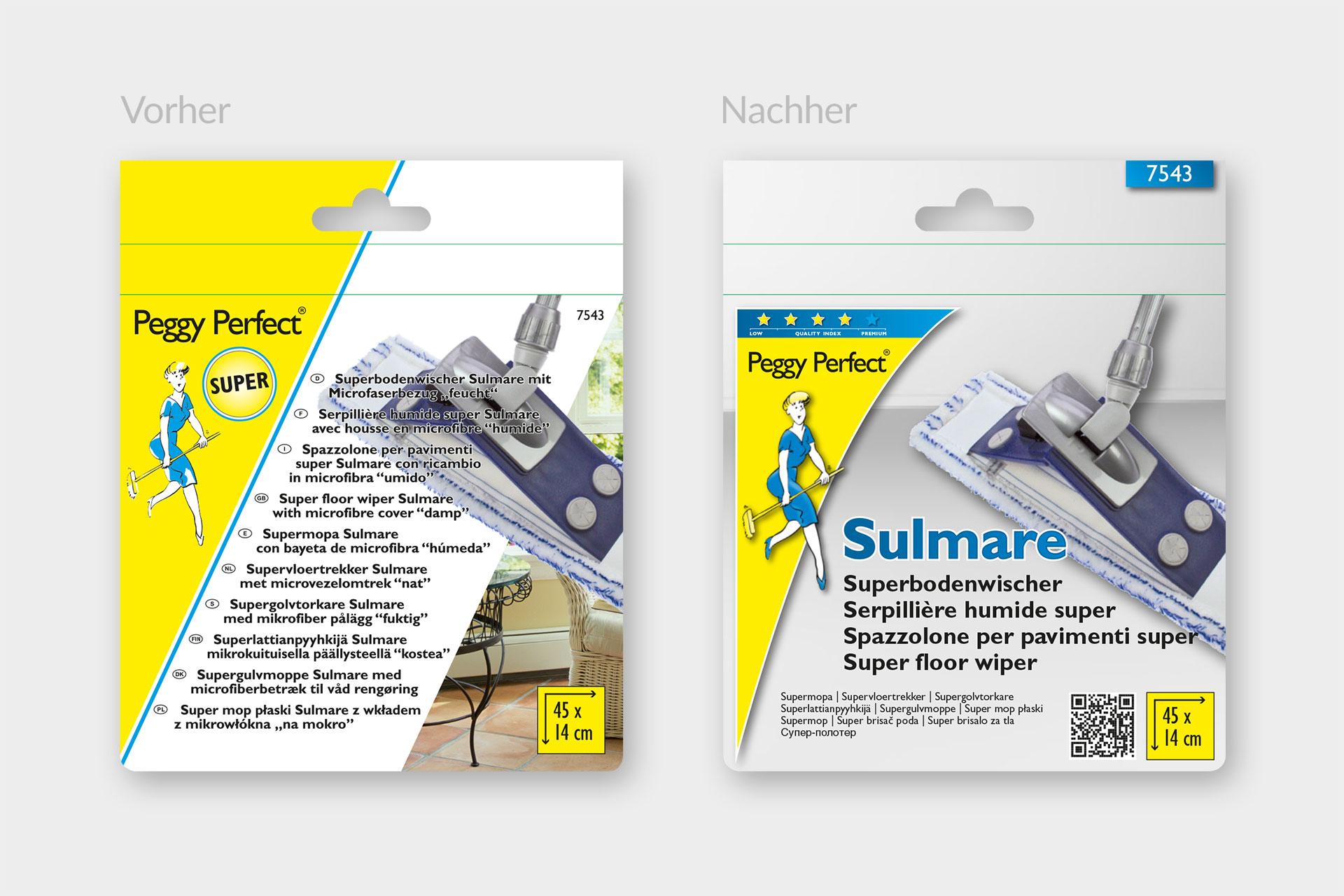 Verpackungsdesign für die Marke Peggy Perfect von Maier Haushaltspflege, Darstellung von vorher-nachher Verpackungsdesign