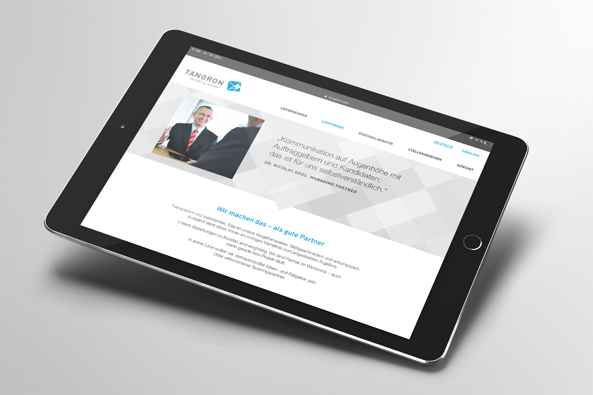 Webdesign im Corporate Design von Tangron