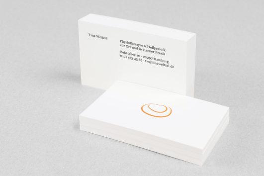 Corporate Design für Tina Weitzel, Beispiel Visitenkarten